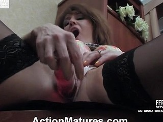 Freaky older chick eagerly pulling up her petticoat underneath fierce schlong assault